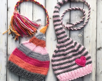 Newborn - 3 month Baby Girl TWiN HaTs BaBY PHoTo PRoP FCN Tassel Beanie & Heart MuNCHKiN Stocking Caps 2 LoNG TAiL Pink Grey Stripe Toque