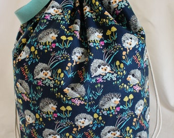 Tiggy-winkle - Navy - Project Bag for Knitting - Sweater Size, 5-6 skeins