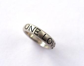 One Love, Handmade Wedding Ring, Silver Wedding Band, Bespoke Wedding Ring, Grooms Wedding Ring, Rock Cakes Brighton