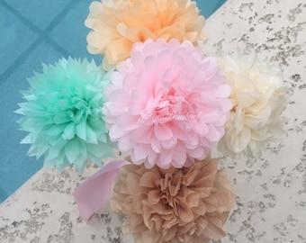 TISSUE POM FLOWERS / tissue paper pom poms / wedding decorations, centerpiece, birthday decor, baby shower, paper flowers, diy