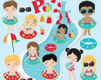Pool Party clipart, Summer clipart, Pool clipart, Water slide clipart, Beach clipart, Water Park, Pool Papers - Commercial License Included