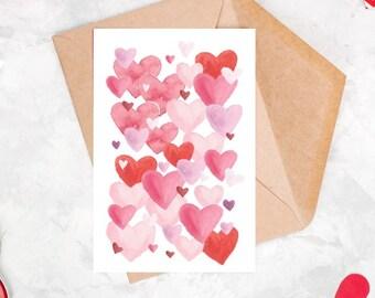 St. Valentine's hearts postcard set 3 cards
