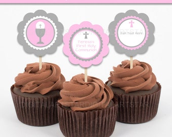 First Communion Cupcake Toppers - Printable First Communion Decorations - First Communion Labels - Catholic Cupcake Toppers - EDITABLE TEXT
