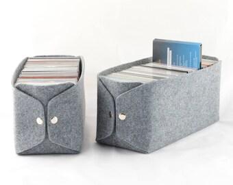 CD Storage basket, felt storage bin, felt bin, felt CD basket, CD storage box, grey cd storage bin, gray felt box, felt bin, housewarming