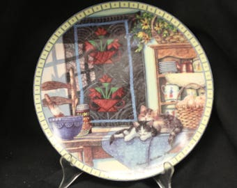 """Knowles Collector Plate -  Hanna Hollister  Cozy Country Corner Collection """"Lazy Morning"""""""