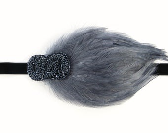 Great Gatsby Headpiece, Feather Headband, 1920s headband, Gatsby headband, 1920s hair accessory, Flapper headpiece, Gunmetal Flapper dress