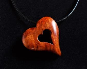 Wood Heart Pendant, Amboyna Burl with Leather Cord