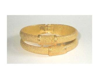 Vintage Signed Crown Bangle Bracelet, Hinged, Gold, Trifari Jewelry, Mid Century, 1950s