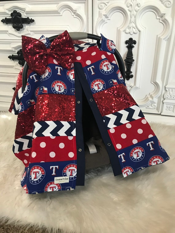 Texas Rangers Car Seat Cover / OOAK /  carseat canopy / nursing cover / girl / arrow / infant car seat canopy / carseat cover
