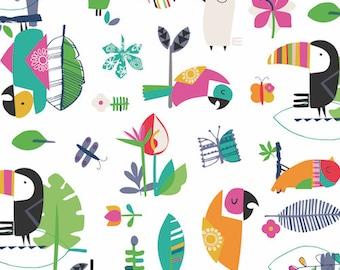 Fabric - Dashwood studios - Club Tropicana, Toucan - medium weight woven cotton fabric.