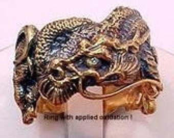 14K gold Diamond DRAGON ring Custom hand carved 17mm wide 17 grams of gold