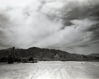 Black and White Desert Photography, Clouds and Desert Print, California Photography, Obsidian Mountains, Film Photography, Salton Sea Print
