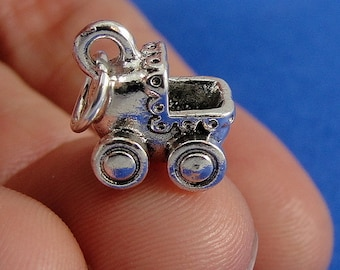 Baby Carriage Charm - Silver Plated Baby Carraige Charm for Necklace or Bracelet