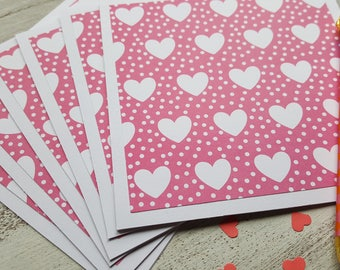 Pink Heart  Note Cards //  Set of 6 // Blank Note Cards // Heart Stationery // Note Card Set // Thank You Cards // Greeting Cards