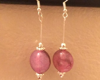 Pink Marble Dangle