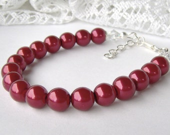 Red Pearl Bracelet / cranberry pearl / wedding jewelry / bridesmaid / birthday gift / gift for girlfriend / adjustable