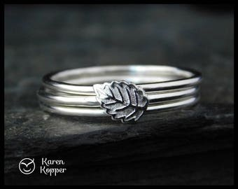 Set of 3 stacking Autumn leaf rings. Sterling silver 0,925. Skinny ring, stacking ring. Made to order at your size..
