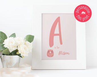 Personalised Name Print, Nursery Print, Gift for Baby, Baby Girl Name, Baby Boy Name, Gift for a Girl, Gift for a Boy, Child's Bedroom