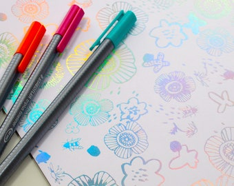 Hot Foil Iridescent Metallic Doodle Colouring Pad