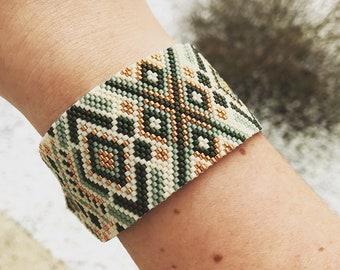 Taiana green, beige and copper cuff