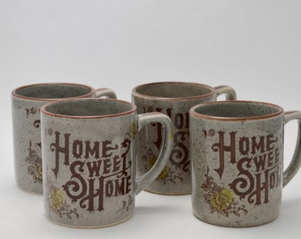 Home Sweet Home Stoneware Mugs Made in Japan, Vintage Japan Stoneware Coffee Cups - Set of 4