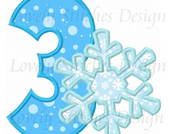 Snowflake Number 3 Applique Machine Embroidery Design NO:0478