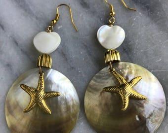 Starfish Earrings | Vintage Bohemian Luxe jewelry | Handmade | Mother of Pearl | Statement Earrings | Vintage | repurposed Vintage Jewelry