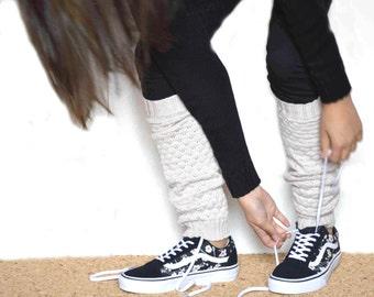 Boot socks in beige / Urban clothing / Knit leg wear/ Women Leg warmers  / Boot cuff  /  dance leg warmers