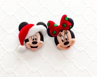 Mickey and Minnie ~ Christmas Earrings ~ Disney Jewelry ~ Winter Earrings ~ Mickey Studs ~ Mix Match Studs