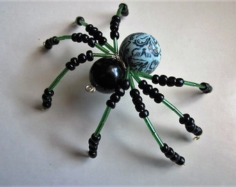 Spider Beaded ,Green And Black