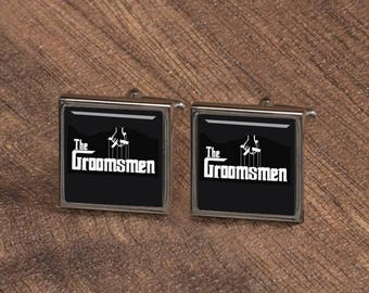 The Groomsmen Cufflinks, Personalized Square Cufflinks, Gifts for groomsman team, Custom wedding Cuff links, silver groomsmen Gifts