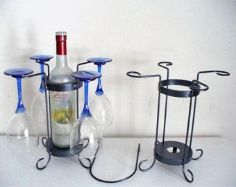 4-Glass single bottle tabletop wine holder