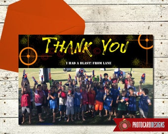Dart Gun Thank You, Foam Dart War Birthday Photo Thank You, Gun, Party, Camo, Birthday thank you, Picture, Boy, Target, Military, Digital