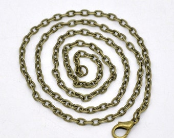 Set of 12.... 18 Inch Antique Brass Bronze Chain Link Necklace for Charms...Pendants...Cabochons 4mm
