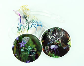 Pocket mirror in Set sayings positive mirror motivation double pack with bag gift idea