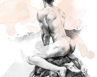 Dreaming boy. Print. 30x40 cm