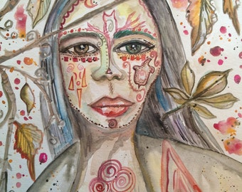 HARMONY, Goddess, Divine Feminine, Gypsy, Wise woman, Witch, Seer, Sage, Sorceress, watercolor, Priestess, Earth Momma, painting, portrait
