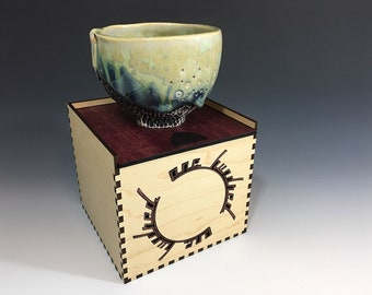 Tea Bowl 4 of 100 in Blue and Green Crystalline Glaze in Maple and Purpleheart Hardwood Box - One Hundred Series.  3 in tall, Food Safe.