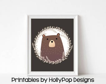 Printable bear art Bear nursery decor Printable woodland animal art Animal nursery decor Digital download Nursery printable Bear print #1837