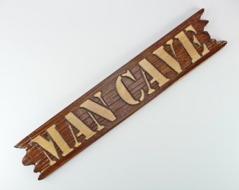 MAN CAVE SIGN Carved Wood Handcrafted Rugged Pine Perfect Manly Gift Husband Boyfriend Son Fathers Day