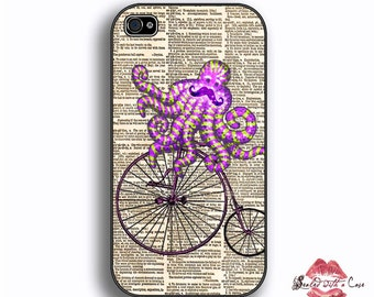 Octopus Mustache Bicycle Dictionary - iPhone 4/4S 5/5S/5C/6/6+ and now iPhone 7 cases!! And Samsung Galaxy S3/S4/S5/S6/S7