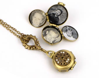 Four Photo Locket, Modern Vintage Locket, Picture Locket, Victorian Photo Locket, Picture Locket Gift, Photo Locket Gift, Locket Girlfriend