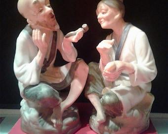 Old Asian Couple Ceramic Figurines - Ardco