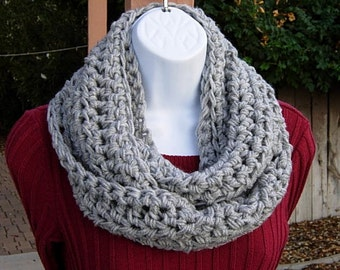 Light Silver Gray INFINITY SCARF, Solid Gray Crochet Cowl, Light Grey Loop Scarf, Acrylic Knit Scarf, Soft Winter Scarf..Ships in 3 Days