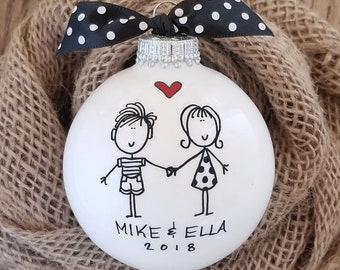 Hand Painted Personalized Ornament, Couples Ornament, Engagement Ornament, Happy Couple, Couples Christmas Gift, Housewarming Ornament Gift