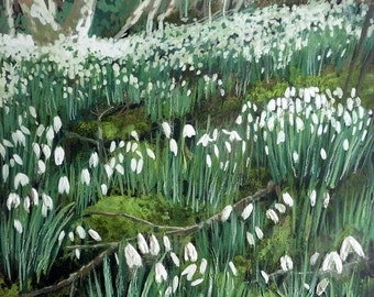 First Snowdrops mounted print of an original oil painting by Tracy Butler