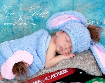 Sky the Donkey Hat and Sleeping Pants for Newborn Babies READY to SHIP Handmade Photo Prop