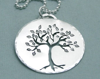 Tree of Life Necklace - Hand Stamped and Pierced Sterling Silver