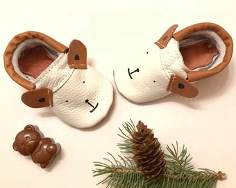 Baby Moccasins, Baby Bear Moccasins, Bear Baby shoes
