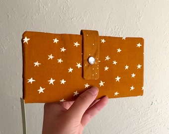 Marigold with Stars  - Long Wallet Clutch - Card Slots, Zipper, Cash